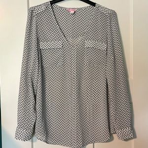 Sheer black and white blouse - size Large